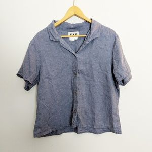 Flax Blue Linen Lagenlook Boxy Fit Button-Up Top L